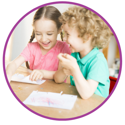 child thereapy image with two young children drawing